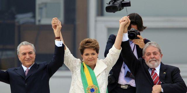 Brasiliens president Michel Temer och de tidigare presidenterna Dilma Rousseff och Luiz Inacio Lula da Silva.  PAULO WHITAKER / TT NYHETSBYRÅN