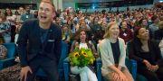 Miljöpartiets språkrör Gustav Fridolin, Isabella Lövin, Karolina Skog och Alice Bah Kuhnke under Miljöpartiets kongress på Aros kongresscenter i Västerås. Peter Krüger/TT / TT NYHETSBYRÅN