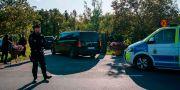Polisavspärrningar vid den konferensanläggning där samtalen mellan USA och Nordkorea hölls.  JONATHAN NACKSTRAND / AFP