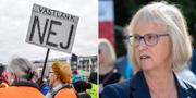Demonstranter vid bygget av Västlänken/Trafikverkets generaldirektör Lena Erixon. TT
