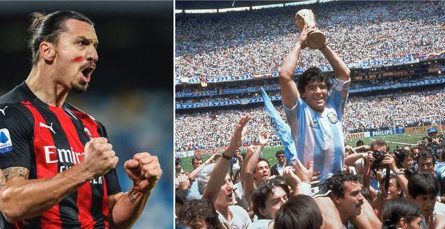 Zlatan, arkivbild på Maradona med VM-bucklan. TT