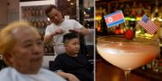 Två personer får sina frisyrer fixade för att likna Trump och Kim / Drink med USA:s och Nordkoreas flagga.  TT