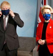 Storbritanniens premiärminsiter Boris Johnson och EU-kommissionens ordförande Ursula von der Leyen.  Peter Nicholls / TT NYHETSBYRÅN