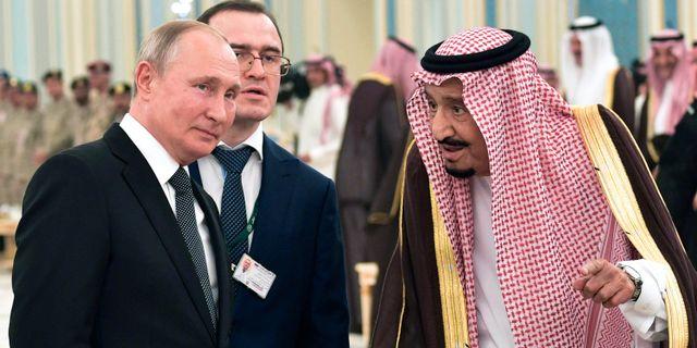 Illustrationsbild: Ryssland president Putin och Saudiarabiens kung Salman. Alexei Nikolsky / TT NYHETSBYRÅN