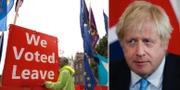 Lämna-anhängare och Boris Johnson. TT