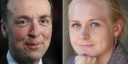 Bild från dagen på Sannfinländarnas Jussi Halla-aho och arkivbild på Samlingspartiets Elina Lepomäki. TT/Wikipedia