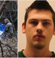 Polisens tekniker vid ån där Emilia Lundbergs kropp hittades och Andreas Andersson.  TT/Fup