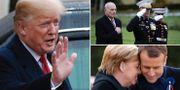 Donald Trump/John Kelly/Angela Merkel och Emmanuel Macron deltar vid ceremonin TT