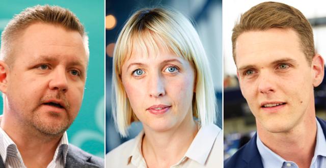 Fredrick Federley (C),  Jytte Guteland (S) och Christofer Fjellner (M).  TT