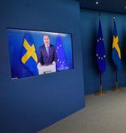 Statsminister Stefan Löfven och arbetsmarknadsminister Eva Nordmark håller pressträff. Jonas Ekströmer/TT / TT NYHETSBYRÅN