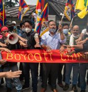 Protester i Dharmsala i somras. Ashwini Bhatia / TT NYHETSBYRÅN