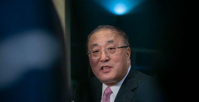 Kinas FN-ambassadör Zhang Jun.  Bebeto Matthews / TT NYHETSBYRÅN