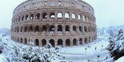 Snön föll ymnigt runt Colosseum i Rom. ALBERTO LINGRIA / TT NYHETSBYRÅN