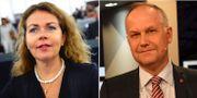 Liberalernas Cecilia Wikström och Jonas Sjöstedt (V). TT