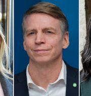 Ebba Busch (KD, Per Bolund (MP) och Nyamko Sabuni (L). TT.