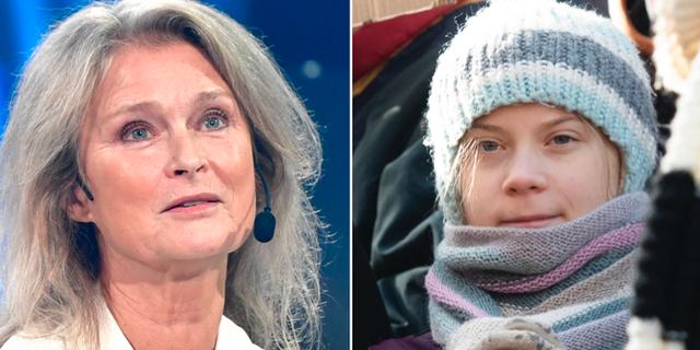 Lena Endre och Greta Thunberg  TT