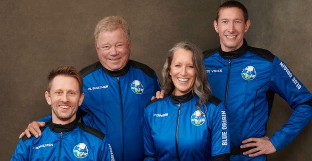 Chris Boshuizen, William Shatner, Audrey Powers och Glen de Vries reser ut i rymden idag. TT NYHETSBYRÅN