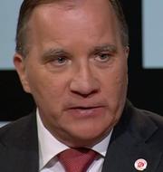 Stefan Löfven och Ebba Busch.  Skärmdump SVT.