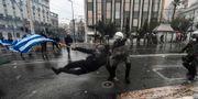 Bild på protesterna.  ARIS MESSINIS / AFP