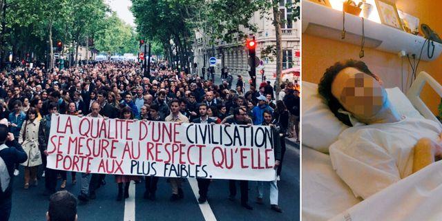 Demonstranter i Paris för Vincent Lambert/Lambert 2013.