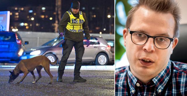 Polis på plats efter skjutningen vid Kungens kurva i januari 2020. Till höger: Dennis Martinsson.  TT
