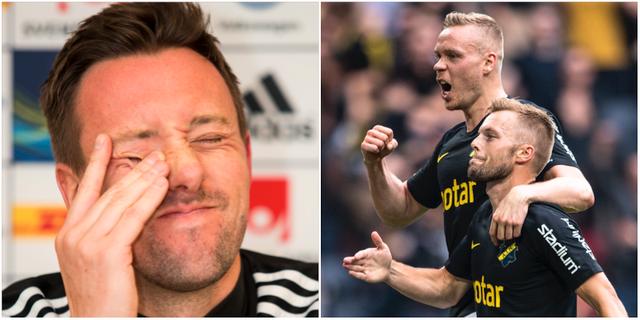 Östersunds tränare Ian Burchnall och AIK:s Kolbeinn Sighorsson och Sebastian Larsson. Bildbyrån