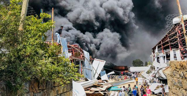 Bilder från i veckan när Mekele flygbombades.  TT NYHETSBYRÅN