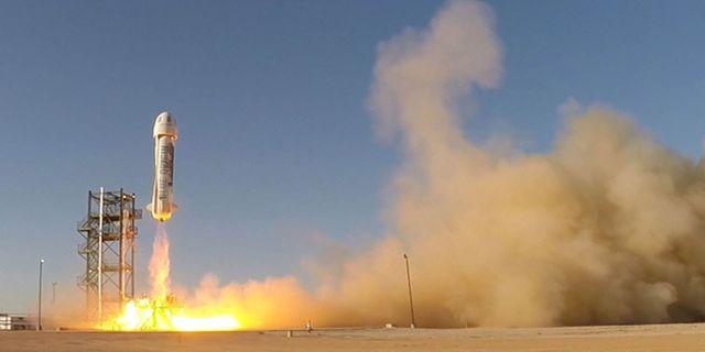 Blue origin, som tillhör den privata marknadens hårdast satsande företag, skickar upp en raket. Blue origin