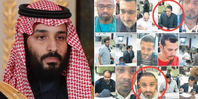 Mohammed bin Salman/två av de som uppges ha kopplingar till honom: Maher Murteb (översta raden) och Muhammed Alzahrani. TT
