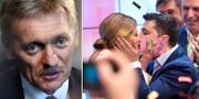 Dmitrij Peskov och Volodymyr Zelenskyj. TT