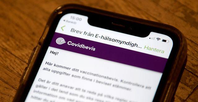 Vaccinationsbevis. Janerik Henriksson/TT / TT NYHETSBYRÅN