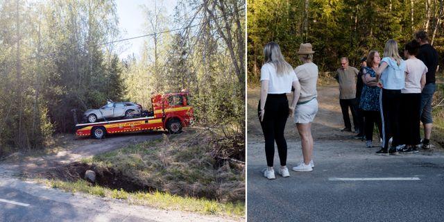 Bilder från olycksplatsen. TT