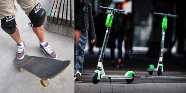 Skateboardåkare/elsparkcyklar av märket Lime. TT