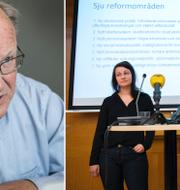 Till vänster: Göran Persson (arkivbild) Till höger: Socialdemokraternas Sara Karlsson och Daniel Suhonen, två av grundarna av föreningen Reformisterna TT