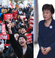 Vänster: Demonstranter firar när beskedet om riksrätt kom. Till höger:  Park Geun-Hye i handfängsel.  TT