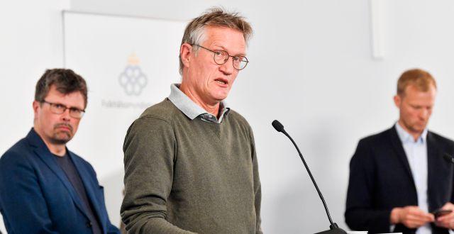 Statsepidemiolog Anders Tegnell på dagens pressträff. Anders Wiklund/TT / TT NYHETSBYRÅN