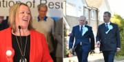 Lisa Forbes till vänster och till höger Brexit partiets partiledare Nigel Farage och partiets kandidat till fyllnadsvalet; Mike Greene.  TT