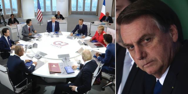 Världsledarna vid G7-mötet i Frankrike t.v. / Jair Bolsonaro t.h. TT