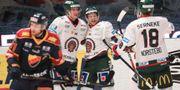Frölundas Ryan Lasch har gjort 0-1 under måndagens ishockeymatch i SHL mellan Frölunda HC och Djurgårdens IF på Hovet arena. Sören Andersson/TT / TT NYHETSBYRÅN