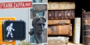 Staty på Frank Zappa vid väg med hans namn / Stapel med böcker TT