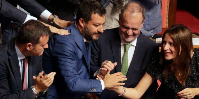 Matteo Salvini med flera.  Alberto Pellaschiar / TT NYHETSBYRÅN/ NTB Scanpix