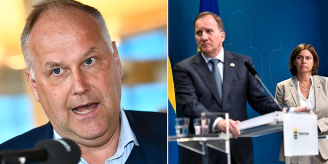 Vänsterledaren Jonas Sjöstedt, statsminister Stefan Löfven och MP:s språkrör Isabella Lövin.  TT