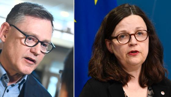 Skolverkets generaldirektör Peter Fredriksson och utbildningsminister Anna Ekström.
