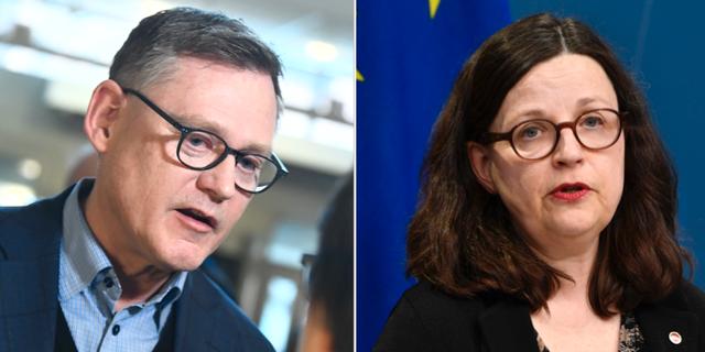 Skolverkets generaldirektör Peter Fredriksson och utbildningsminister Anna Ekström.   TT