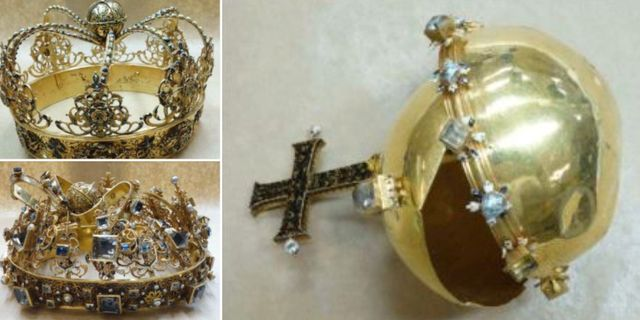 Bilderna på de regalierna som skadades efter stölden. TT/ POLISEN / Handout