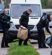 Kriminaltekniker undersöker platsen där Madsen greps Johan Nilsson/TT / TT NYHETSBYRÅN
