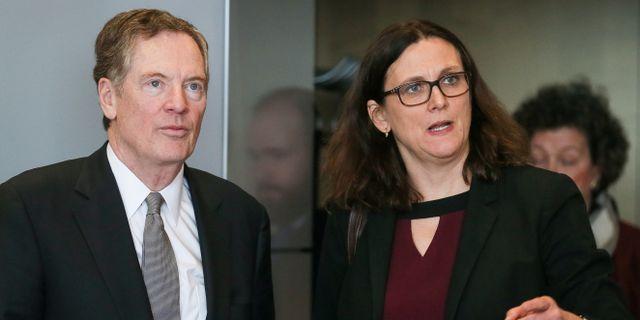 Arkivbild: EU:s handelskommissinär Cecilia Malmström i samband med ett möte med USA:s handelsrepresentant Robert Lighthizer i mars.  POOL New / TT NYHETSBYRÅN
