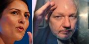 Priti Patel och Julian Assange. TT