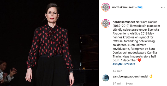 Skärmdump från Nordiska museet inlägg på Instagram. Nordiska museet