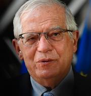 EU:s utrikeschef Josep Borrell/Brand efter flygräd mot Gaza.  TT.